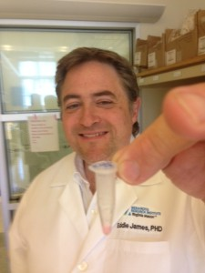 BRI research scientist Dr. Eddie James with a vial of Class II Tetramers