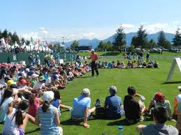 Kids from The First Tee Seattle attend a clinic at the Boeing Classic.