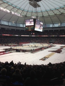 The view from section 251 row KK at Sunday's Heritage Classic.