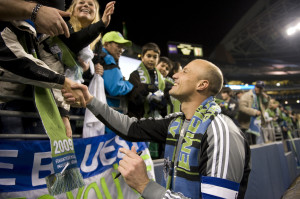 Keller thanks fans after the Sounders 3 - 0 win over New York in their first ever MLS game.  (photo: Rod Mar)
