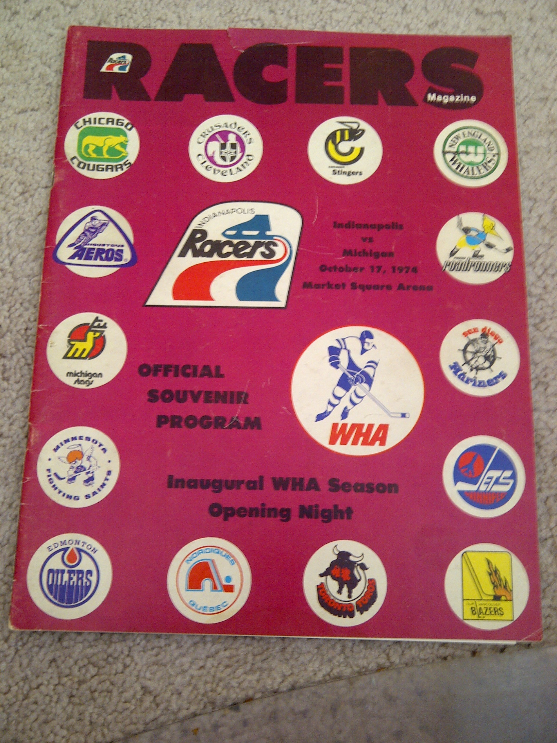 The program from the first game in Indianapolis Racers history.