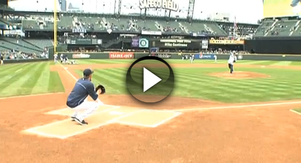 Gasman throwing out first pitch at Mariners game